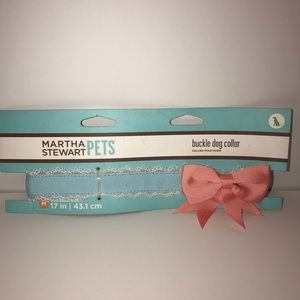 Martha Stewart blue pink bow dog collar Sz medium
